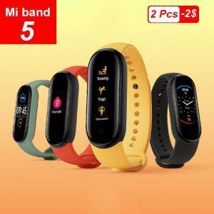 Novo xiaomi mi banda 5 smartband 4 cores 1 2 tela de toque miband 5 pulseira
